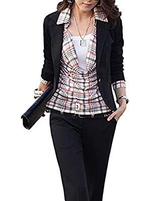 Women's Short Blazer, Fashion Slim Fit Lightweight One Button Suit Jacket