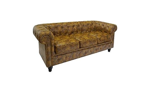 Elegante funda de piel para sofá 3-plazas Chesterfield de ...