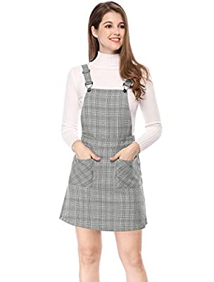 Allegra K Women's Plaids Adjustable Strap Above Knee Overall Dress Skirt