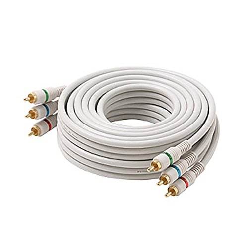 (100' FT RCA Component Cable Python 3-Male Each End RGB Ivory Gold HDTV Color Coded Connectors Stereo Double Shielded 3-RCA Cable Digital Signal Jumper)