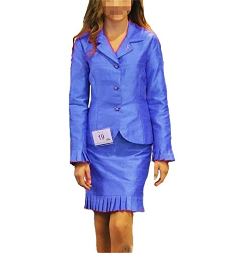 [MESQueen Girls' Long Sleeve Ruffles Skrit Dress Interview Pageant Suits 9 Blue] (Pageant Suits)
