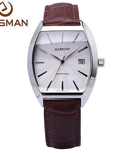 Marcas easman mens relojes brunes auténticas relojes barril piel zafiro FECHA de cristal de cuarzo para los hombres: Amazon.es: Relojes