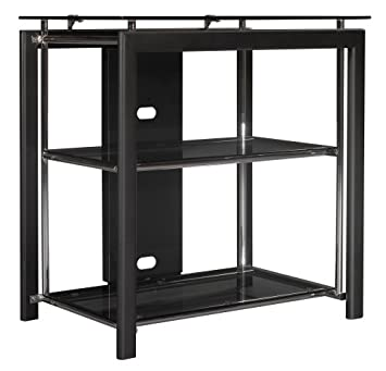 Bush Furniture Midnight Mist TV Stand, Small, Black/Chrome