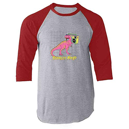 Totally Rad T Rex with Boombox Red M Raglan Baseball Tee Shirt -