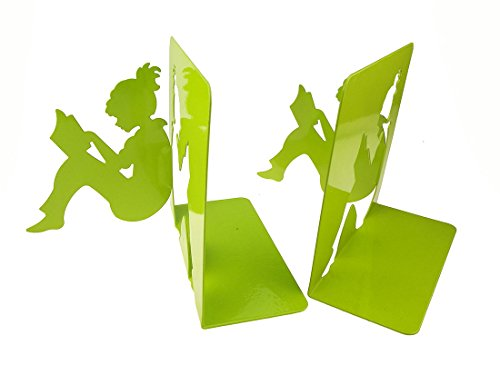 Unigift 3D Paper-Cut Little Girl is Reading Pattern Bookends Metal Book Ends Decoration for Kids Teenagers Teachers Students Adults Study Home Office School Library (Green)