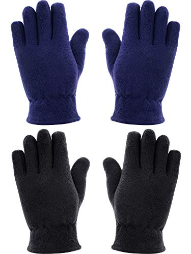 Kids Fleece Mitten - SATINIOR 2 Pairs Kids Gloves Full Fingers Gloves Fleece Mittens Gloves Winter Warm Gloves for Little Girls Boys Supplies (5-8 Years Size, Color Set 4)