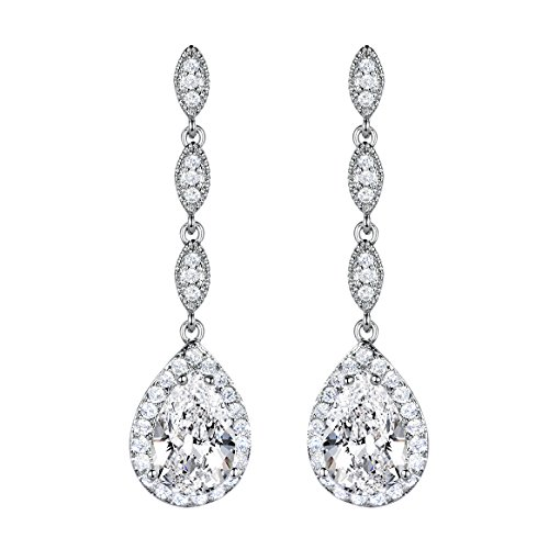 SELOVO Women's CZ Zircon Crystal Teardrop Bride Elegant Dangle Earrings Silver Tone (Silver Zircon Earrings)