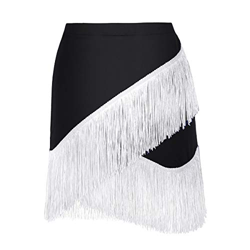 YiZYiF Womens Latin Tango Ballroom Tassel Fringe Skirt Samba Salsa Dance Dress Costume Black&White -