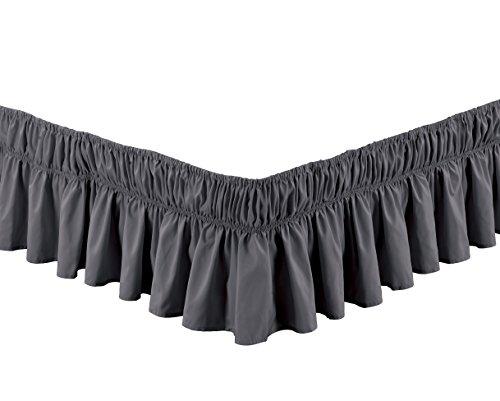 (Grand Linen Wrap Around Dark Grey Ruffled Elastic Solid Bed Skirt Fits Both Twin and Full Size Bedding High Thread Count 14 inch Fall Microfiber Dust Ruffle, Silky Soft & Wrinkle Free.)