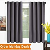 TEKAMON 99% Blackout Curtains 2 Panels Thermal Insulated Solid Grommet Draperies Set, Room Darkening Panels for Living Room, Bedroom, Nursery, Home Theaters (W52 X L63 per Panel, Dark Gray)