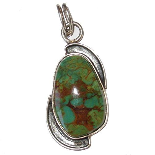 "SatinCrystals Turquoise Pendant 2.3"" Specialty Vintage Style Green Orange Kingman Gem Healing Crystal Silver S02"