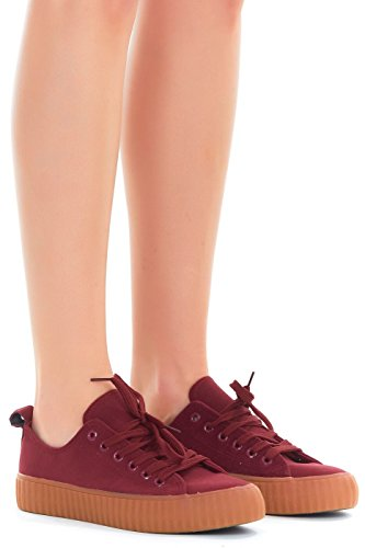 Shoes Emma - Emma Shoes Women Faux Suede Lace up Creeper Platform Sneaker (7, Maroon)