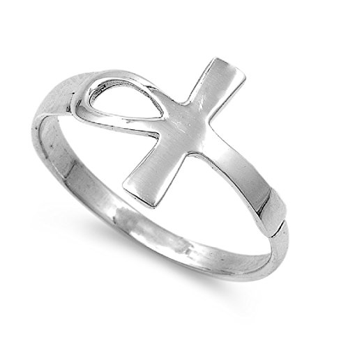 Sterling Silver Protection from Harm Ankh Cross Ring Size 6 (Ring Small Ankh)