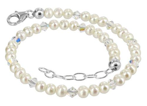 Gem Avenue Sterling Silver Swarovski Elements White Freshwater Pearl Ankle Bracelet 9 to 10 inch (Pure White Swarovski Pearls)