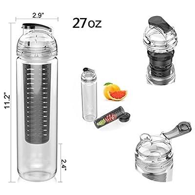 AVOIN colorlife 27oz. Sport Tritan Fruit Infuser Water Bottle(Many Color Option) - BPA Free