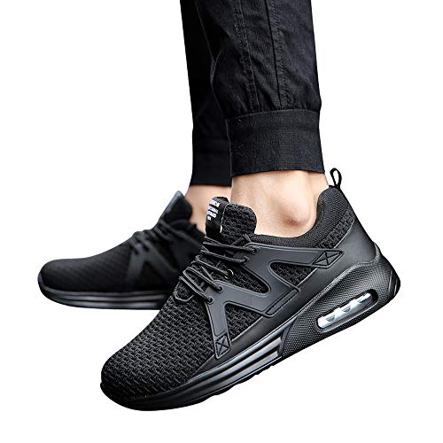 Men Sports Running Shoes Breathable Sneakers Lightweight Athletic Jogging Hiking (Black, US:6.5)