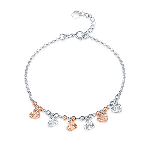 (MaBelle 14K Rose and White Gold Diamond-Cut Heart Charms and Beads Anchor Chain Bracelet (6.5