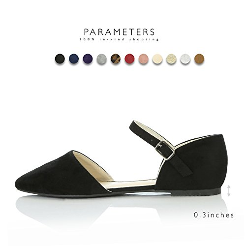DailyShoes Women's Pointy Toe Flats D'Orsay Buckle Ankle Strap Casual Comfort Ballerina Ballet Flat Shoes, Black Suede, 9 B(M) US by DailyShoes (Image #3)