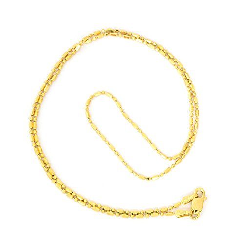 14k Yellow Gold 1.2mm Diamond Cut Bar and Bead Mezzaluna Chain Necklace, 20