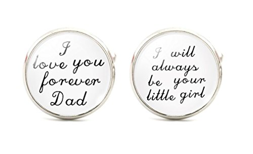 I Love You Forever DAD...I Will Always Be Your Little Girl Cuff Links Mens Cufflinks Wedding Father of the Bride Groomsmen White and Black st2 by Glazed Black Cherry (Image #1)