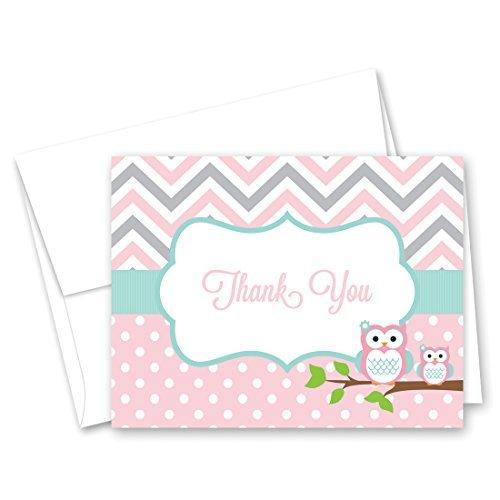 50 Cnt Pink Aqua Owl Baby Thank You Cards