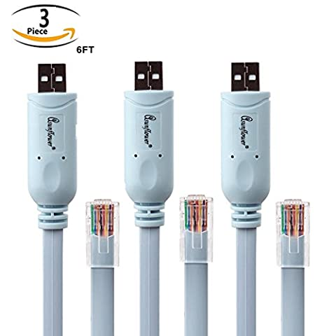 Asunflower 3 Pcs 6Ft FTDI USB to RJ45 for Cisco Router Console Cable - RS232 - Cable Usb Rj 45 Connector