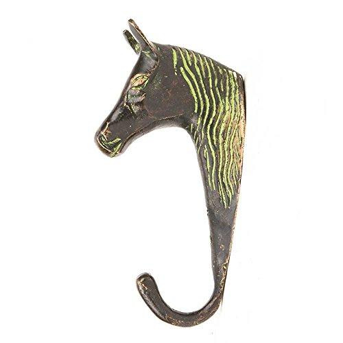 Indianshelf Handmade 3 Artistic Vintage Multicolor Brass Horse Head Key Hooks Hangers/Key Holder for Wall Decorative