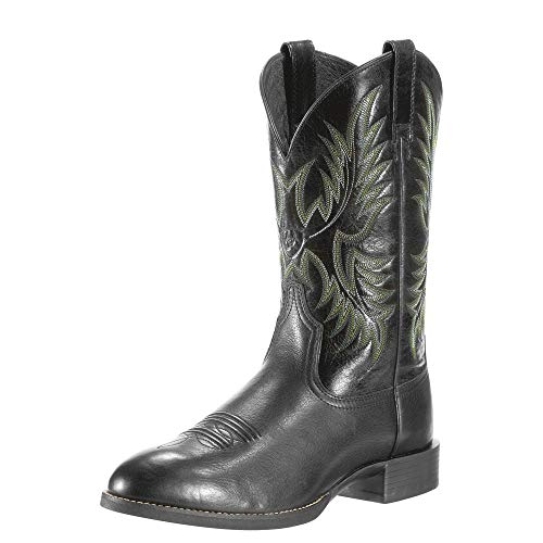 ARIAT Men's Heritage Stockman Western Boot Black Deertan Size 13 W Us