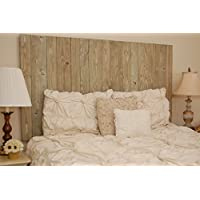 Driftwood Water Based Stain Finish - California King Hanger Headboard with Vertical Boards.