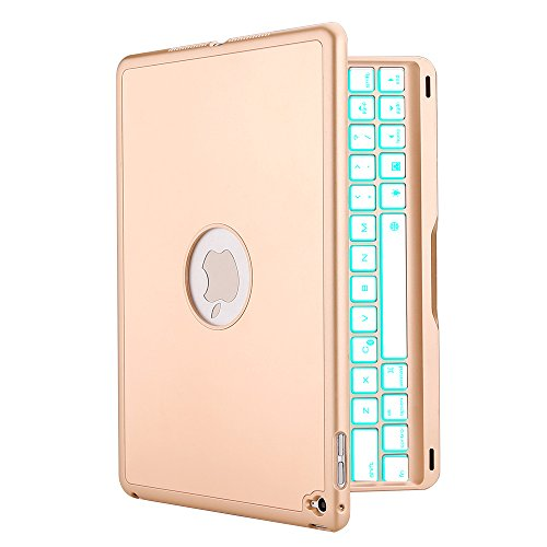 iPad Air 2 Keyboard Case, iEGrow F8S+ Slim Bluetooth Clamshell Keyboard Case with 7 Colors LED Backlit for iPad Air 2 Model A1566/A1567
