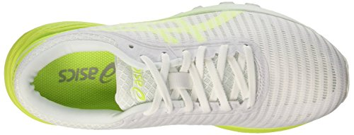 Asics Dynaflyte 2, Chaussures de Running Femme Blanc (White/Safety Yellow/Aruba Blue 0107)