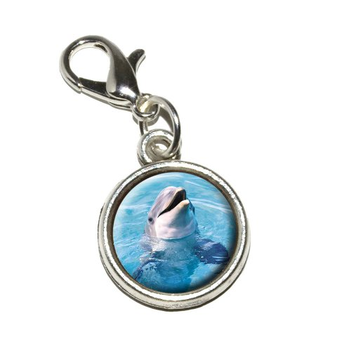 - Graphics and More Dolphin Antiqued Bracelet Pendant Zipper Pull Charm with Lobster Clasp, 15-Inch