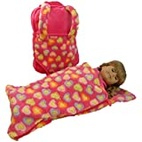 The Queen's Treasures Pink aby Doll Backpack Carrier and Sleeping Bag for 18 inch and 15 inch Dolls. Fits American Girl Dolls & Bitty Baby Dolls