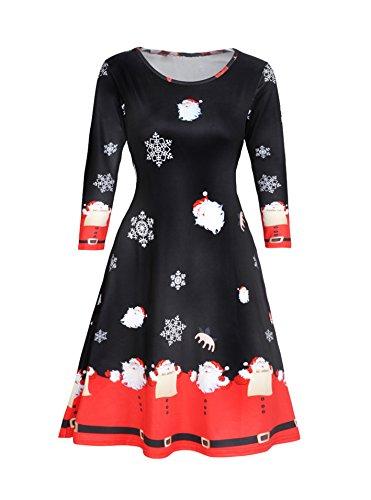 Dongpai Women's Christmas Santa Claus Party Dress Casual Long Sleeve Round Neck Tunic -