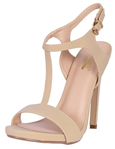 7' High Heels Peep Toe ('Glaze Women\'s T-Strap Platform Dress Sandals, Nude, Size 7')
