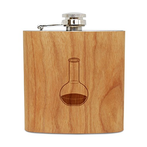 WOODEN ACCESSORIES COMPANY Cherry Wood Flask With Stainless Steel Body - Laser Engraved Flask With Florence Flask Design - 6 Oz Wood Hip Flask Handmade In USA