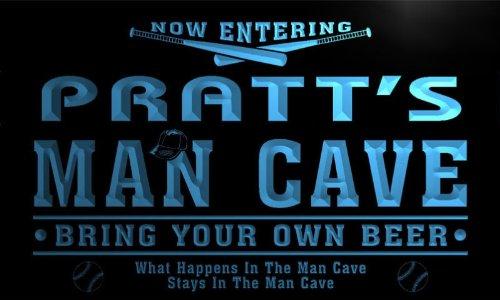 qb1437-b PRATT's Man Cave Baseball Bar Neon Beer Sign