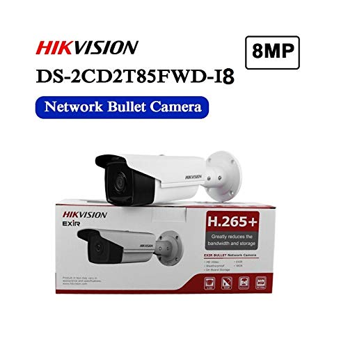 Hikvision 8MP 4K Outdoor PoE Bullet IP Camera DS-2CD2T85FWD-I8 2.8mm Fixed Lens, 3840x2160, EXIR 262ft Night Vision, Smart H.265+ WDR, SD Card Slot, VCA, ONVIF, IP67