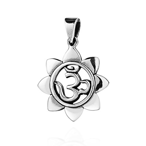 AeraVida Sacred Prayer Sign Mystic Om or Aum .925 Sterling Silver Pendant