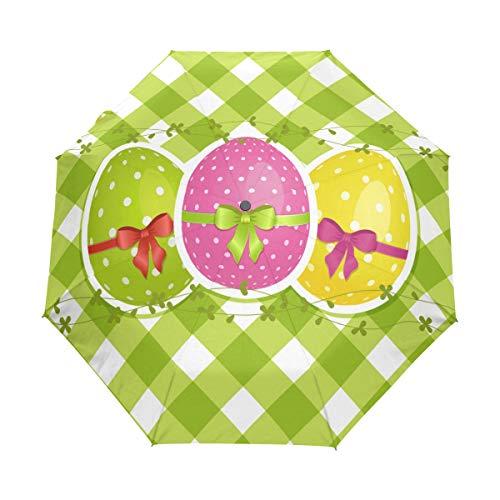 Auto Open Close Travel Sun Umbrellas Easter Eggs On Green Gingham Border 3 Folds Windproof UV Automatic Umbrella