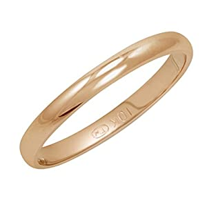 Women's 14K Rose Gold 2mm Classic Fit Plain Wedding Band (Available Ring Sizes 4 8 1/2)