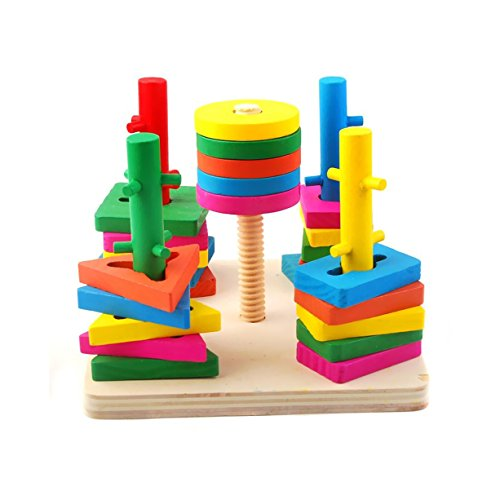 ori Geometry Match Intelligence Game Building Blocks,Block Wise Disk Five Column Set Building Blocks,Baby Kids Wooden Early Educational Toys Sets ()
