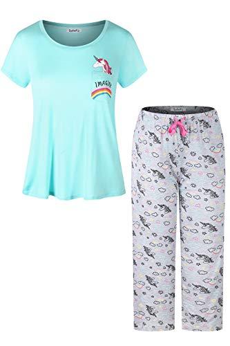 (SofiePJ Women's Rayon Chest Pocket Top with Capri Pants Pajama Set Aqua Gray XL)