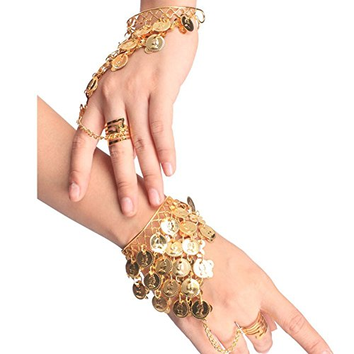 HugeStore Women Ladies Belly Dance Gypsy Jewelry Triangle Coin Bracelet Wrist Bangle Ring Golden (Belly Dancing Coin Dance)