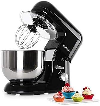 Klarstein Bella Nera Robot de cocina 2 en 1 - Batidor, Amasador, Rendimiento 1200W, 6PS, Batido planetario, 6 velocidades, Varillas metálicas, Recipiente 5,2L, Acero inoxidable, Negro