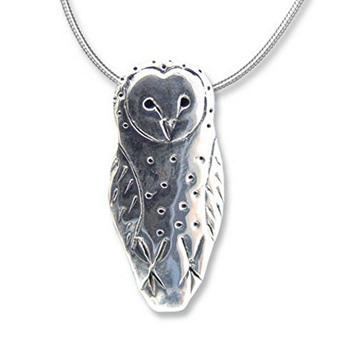 (Sterling Silver Barn Owl Large Pendant by The Magic Zoo)