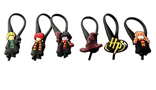 [AVIRGO 6 pcs Soft Zipper Pull Charms for Backpack Bag Pendant Jacket Set # 54-3 by Hermes] (Dobby Harry Potter Costumes)