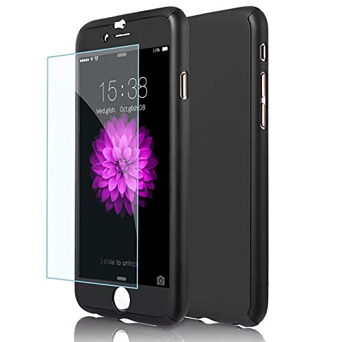 iPhone 6/6s Case,I3C 4.7 Inch Full Body Hard Case-Auroralove 360 Degree Full Protective Cover with Tempered Glass Screen Protector