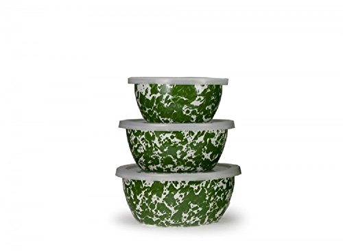 Golden Rabbit Enamelware, Green Swirl Small Nesting Bowls, Set of 3 bowls with lids, 5½, 6½ & 7 inch diameters, 3, 4 & 6 cup (Nesting Swirls Set)