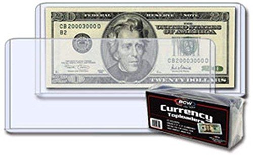 (25) Clear US Currency Topload Holder Protector for Regular Bills By BCW